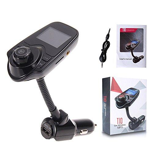 beshp Bluetooth FM Transmitter Handsfree-Car Kit Ladegerät Mit 3,5mm Audio Anschluss, USB-Ladekabel 5V/2.1A Ausgang, Micro SD/TF Kartenleser Slot (T10)