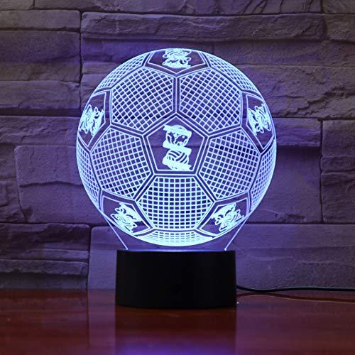 jiushixw 3D acryl nachtlampje met afstandsbediening van kleur veranderende tafellamp Football Team Logo elektronische rugzak football service voor Star Wars tafellamp