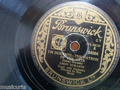 78 rpm JIMMY DURANTE i`m patron of the arts / start off each day with a song