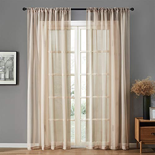 MRTREES Beige Sheer Curtains Sheers Living Room 84 inch Length Light Filtering Voile Curtain Panels Bedroom Draperies Rod Pocket Window Treatment Set 2 Panels