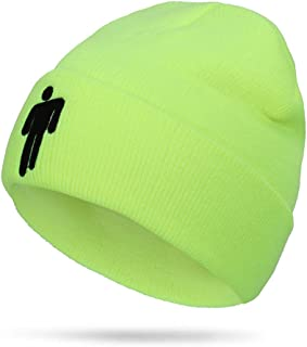 Leriaon Billie Eilish Beanie Knit Hat Unisex Embroidered Logo Knitted Cap Chartreuse