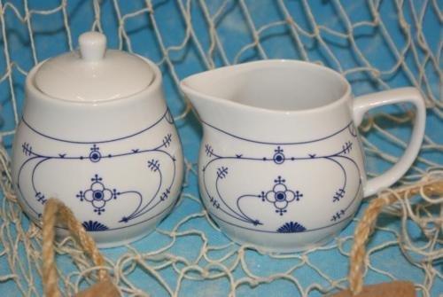Ocean-Line *Milch-& Zuckerset* Milchkännchen & Zuckerdose Indisch Blau / Strohblume Porzellan