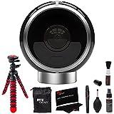 Allie Home 8MP Day/Night IR 360° Dual Lens Spherical VR Interactive Camera Bluetooth (Black) AHB10 + Ritz Gear Cleaning Kit + 12' Tripod Camera Bundle