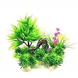 DotingU Juego de 8 piezas de accesorios de pecera para acuario, kit de decoración de plantas de naufragio, rocas, plantas de plástico, barco de resina, burbuja de aire ecológico cueva