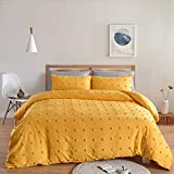 BEDAZZLED Duvet Cover King Size,3 Pieces Tufts Accent Shabby Chic Comforter Cover,Soft and Durable Bedding Set for All Seasons, Yellow
