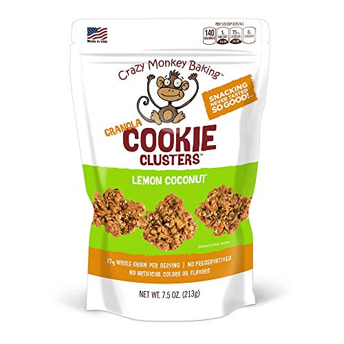 Crazy Monkey Baking | Granola Cookie Clusters | 18 Grams Whole Grain | All Natural Ingredients | 7.5 Ounce Resealable Bag | Lemon Coconut