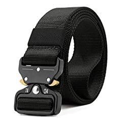 "Tactical Belt Length: 45""-61""(115cm-155cm), Width:1.5""(3.8cm), fits waist 30""~ 50"". Buckle Size: 2.4""(6cm) in width and 5/16""(8mm) in thickness. The buckle can not get trough normal pant's loops, please take off the buckle before get it through. Tact..."