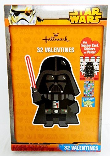 Hallmark STAR WARS 32 Valentines Cards w/ Darth Vader Cover w/ Teacher Card, Stickers, and Poster
