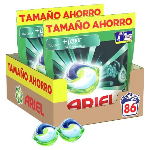 Ariel Pods Detergente Lavadora Cápsulas, 86 Lavados (Pack 2 x 43) con Lenor UNstoppables