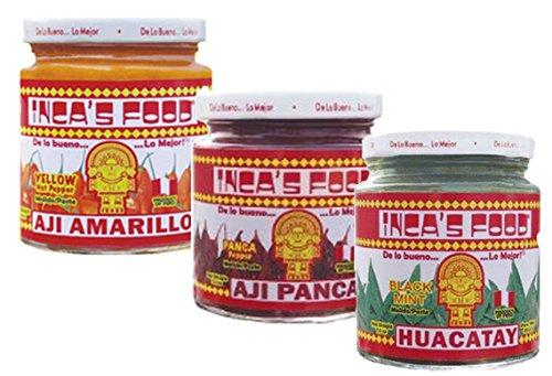 Incas Food Mixed Sampler - Aji Amarillo, Aji Panca, and Huacatay - (3) 7.5 Oz Jars