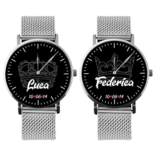 Coppia Di Orologi Da Polso Personalizzati You And Me King & Queen DATA E NOME