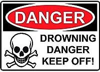 危険溺死危険は避けてくださいブリキの看板壁の装飾金属ポスターレトロプラーク警告看板オフィスカフェクラブバーの工芸品