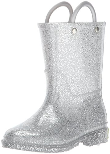 Western Chief Girls Glitter Rain Boot, Silver, 9 M US Toddler