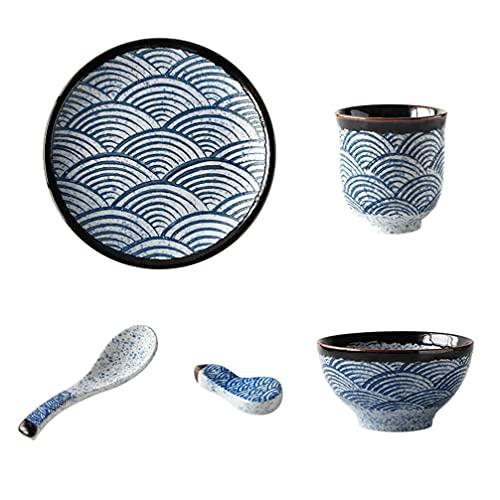 BESTonZON Juego de Vajilla China Juego de Vajilla Japonesa de Cerámica para El Hogar con Tazón de Taza de Té Cuchara de Sopa Y Palillos