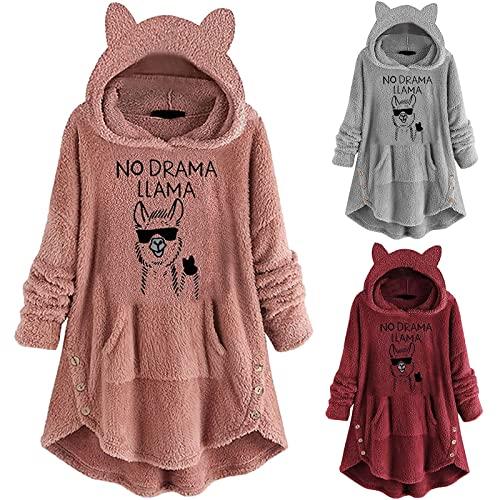 Women's Letter Print Hoodies Dress Long Sleeve Winter Cat Ear Fleece Fuzzy Turtleneck Pullover Solid Color Sweatshirts Wine