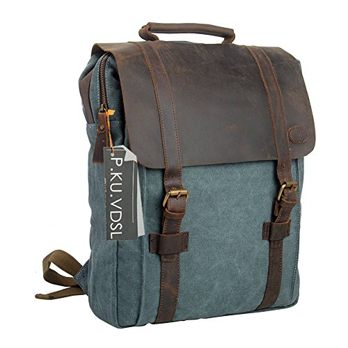 "Canvas Backpack, P.KU.VDSL 15"" Laptop Backpack Vintage Canvas Leather"