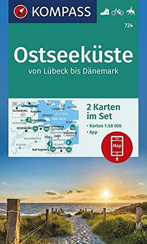 KOMPASS Wanderkarte Ostseeküste von Lübeck bis Dänemark: 2 Wanderkarten 1:50000 im Set inklusive Karte zur offline Verwendung in der KOMPASS-App. ... Reiten. (KOMPASS-Wanderkarten, Band 724)