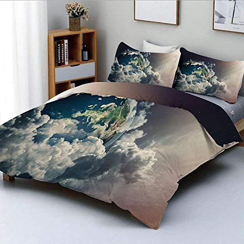 Duvet Cover Set,Abstract Planet Earth View with Majestic Clouds Sun Rays and Stars Decorative 3 Piece Bedding Set with 2 Pillow Sham,Dark Blue White Pale Yellow,Best Gift For Ki