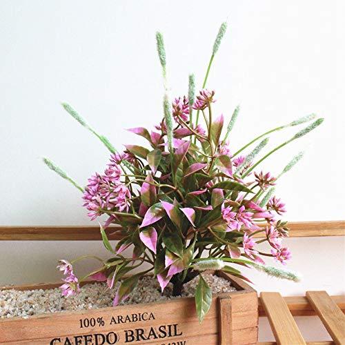 rainbowhh Mini Hierba Artificial Plantas Falsas Hojas para jardín hogar Tienda decoración de Primavera al Aire Libre Bonsai sin florero Rosa sin florero sin Maceta
