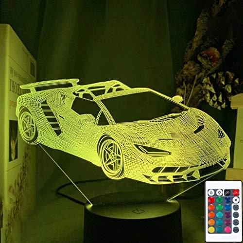 LIZHIOO 3D Illusion Nachtlicht, Sportauto Farbe Wechselnd 3D Nachtlicht, LED Nachtlicht Sportauto Dekoration Licht, Geeignet Für Kinder Schlafzimmerdekoration