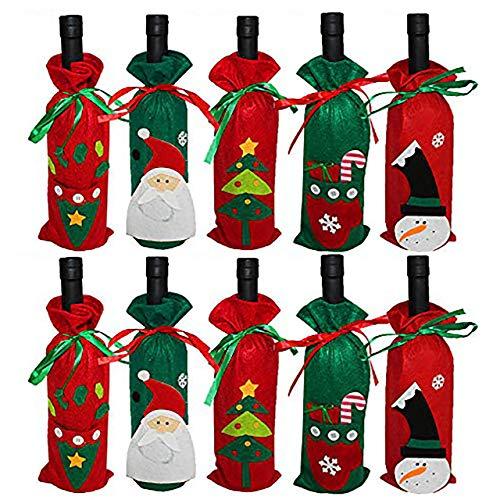 10 Sacchetti Regalo per Bottiglie di Vino di Natale| Tessuto non Tessuto Premium, Robusto e Riutilizzabile| Copribottiglia Natalizio per Feste, Decorazioni per la Tavola, Centrotavola, Regali.
