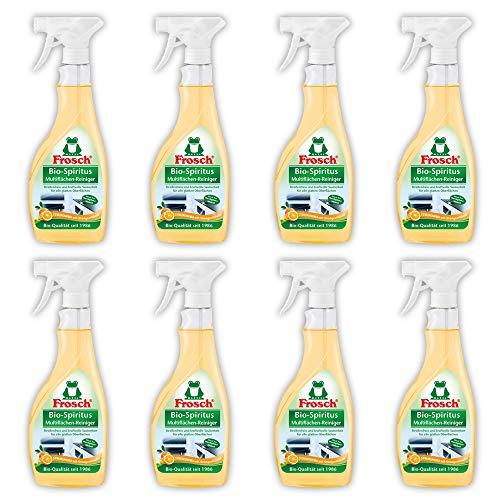 Frosch Bio-Spiritus Multiflächen-Reiniger, Sprühflasche, für streifenfreien Glanz, 500 ml, 8er Pack (8 x 500 ml)