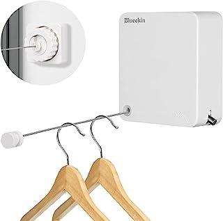室内物干しワイヤー Blueekin 4.8M 洗濯物干しワイヤー 部屋干し 洗濯物干し 穴開け不要 耐荷重20KG 隠し室内物干し用ロープ自由伸縮 スローリカバリー 省スペース 壁付 室内屋外兼用