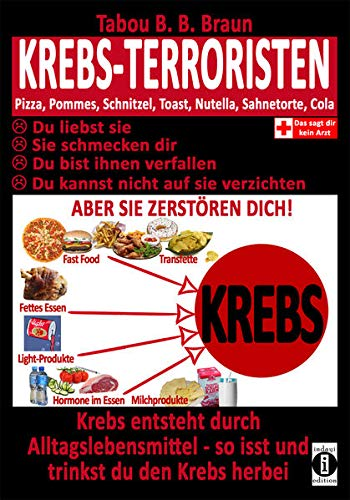Krebs-Terroristen: Pizza, Pommes, Schnitzel, Toast, Nutella, Sahnetorte, Cola. Du liebst sie, sie schmecken Dir, Du bist ihnen verfallen, Du kannst ... - so isst und trinkst Du den Krebs herbei.