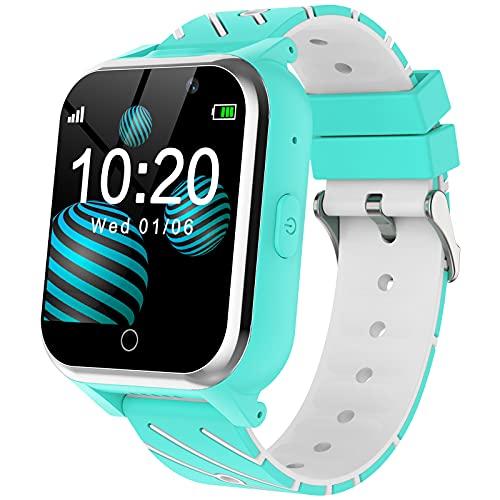 Reloj Inteligente Para Niños - MP3 Música 17 Juegos Smartwatch Niños Chat de Voz SOS linterna Cámara Vídeo Digital Pantalla Táctil HD Deporte Reloj de Pulsera Digital Para Niños De 4-12 Años(Azul)