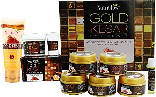 NutriGlow Combo Pack Of 3 - Gold Kesar Facial Kit For Women (260 Gm)/ Bleach Cream (43 Gm)/ Facial Cleanser (65 ml) | Instant Glowing Skin | Suitable For All Types Of Skin/Hydrate Skin