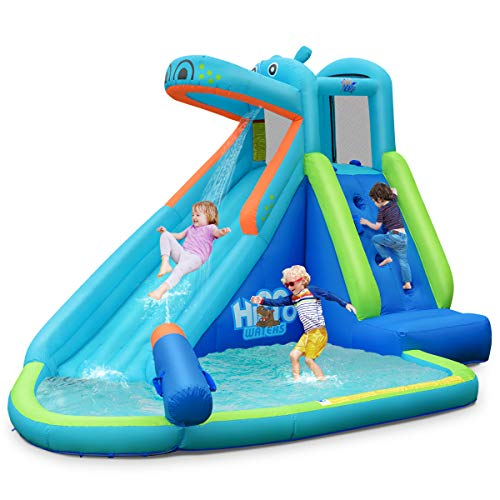 BOUNTECH Inflatable Water Slide, Hippo Themed Bounce House, Bouncer Park w/ Splashing Slide, Climbing Wall, Water Cannon, Including Carry Bag, Stakes, Repair Kit, Hose (Without Blower)