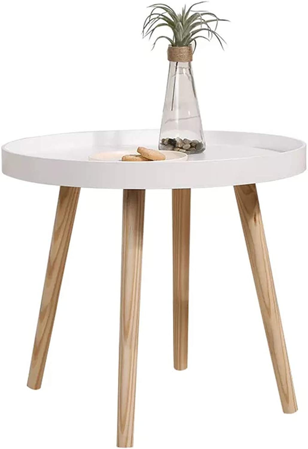 Round Table Nordic Simple Solid Wood Coffee Table White Wrought Iron Side Table Four-Legged Coffee Table Wrap Design, Φ50cm H50cm