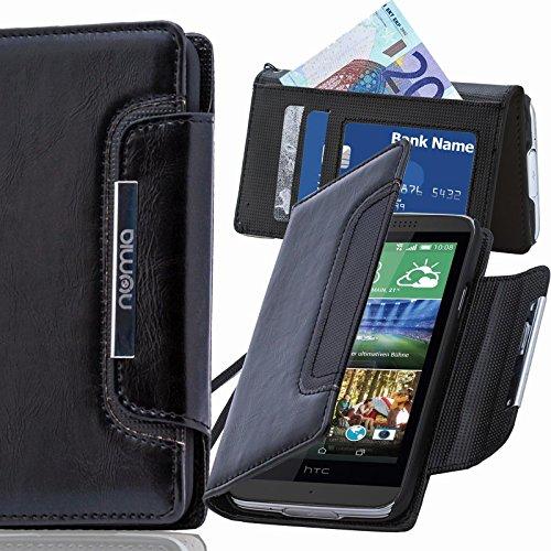 HTC Desire 728G Hülle, numia Handyhülle Handy Schutzhülle [Book-Style Handytasche mit Standfunktion & Kartenfach] Pu Leder Tasche für HTC Desire 728G Hülle Cover [Schwarz]