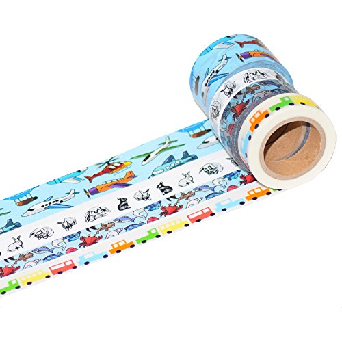 K-LIMIT 4er Set Washi Tape Dekoband Masking Tape Klebeband Scrapbooking Flugzeuge Autos Tiere 9760