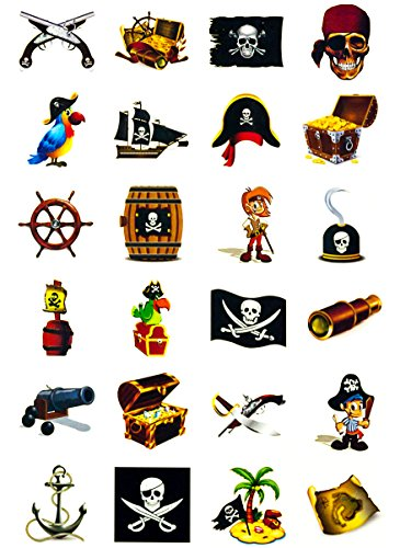 Oblique-Unique Piraten Tattoo Set 24 Kindertattoos - Verschiedene Piraten Motive Kinder Spielen