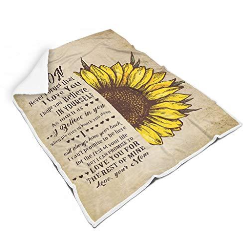 EUNNT To My Son Sunflower Love Mom, weich, gemütlich, leicht, weich, Überwurf für Sofa, Stuhl, Bett, Büro, Reisen, Camping, Polyester, weiß, 50x60 inch