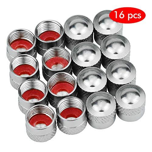 HENTEK 16 Piezas Tapas de válvula de Aluminio Tapas Antipolvo Neumático de Coche Rueda de la Rueda Varilla Tapas Antipolvo (Plata)