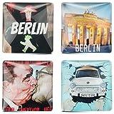 Juego de 4 imanes para refrigerador Berlín | imanes de vidrio, cuadrado 4x4 cm | Bruderkuss, Puerta de Brandenburgo, semáforo, Trabant
