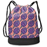 Printed Drawstring Backpacks Bags,Violet Roman Artichokes on Coral Backdrop Organic Cooking Theme Grocery,Adjustable String Closure