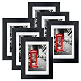 Amazing Roo 3.5x5 Picture Frames Set of 6, Black Photo Frame Fits 3.5 x 5 Pictures with Mat for Wall and Tabletop Display