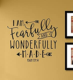 I am fearfully and wonderfully made Psalm 139:14 Vinyl Wall Art Decal Sticker
