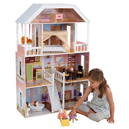 KidKraft- Savannah Casa de muñecas de madera con muebles y accesorios incluidos, 4 pisos, para muñecas de 30 cm , Color Blanco (65023)