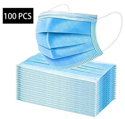 100 PCS 3-Ply Universal Face m?sks Dustproof Mouth Protector Prevent Sneeze Droplets (100, Blue)