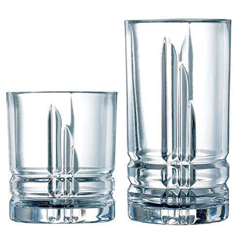Luminarc N8776 Tumbler Set, 8-16 Ounce Coolers & 8-13 Ounce Double Old Fashions Glass Parallels...
