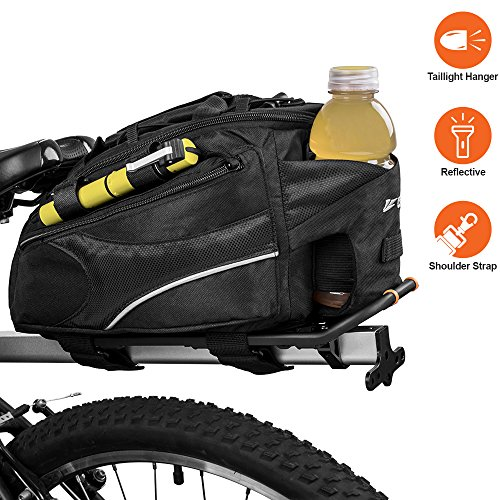 BV Bike Commuter Carrier Trunk Bag with Velcro Pump Attachment, Small Water Bottle Pocket & Shoulder Strap