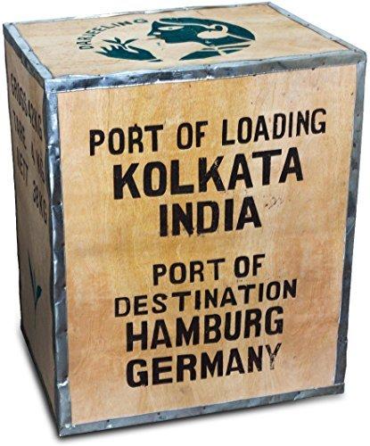 Paulsen Tee-Import Original Teekiste Darjeeling Indien groß aus Holz Übersee 40 x 50 x 60 cm