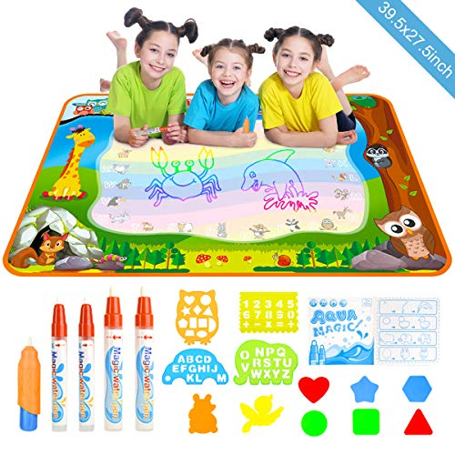 Doodle Drawing Mat, YEEGO Water Doodle Mat Aqua Coloring Mat Extra Large 40X28 inch 5 Magic Water Pens and 8 Molds 4 Template No Mess Doodle Gift for Boy Girl