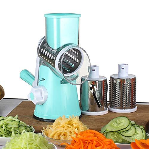 JAYLONG Cortador De Verduras Rebanador De Cocina Accesorios Multifuncional Ronda Mandolinas Rebanador Queso De Patata Cocina Gadgets,Blue