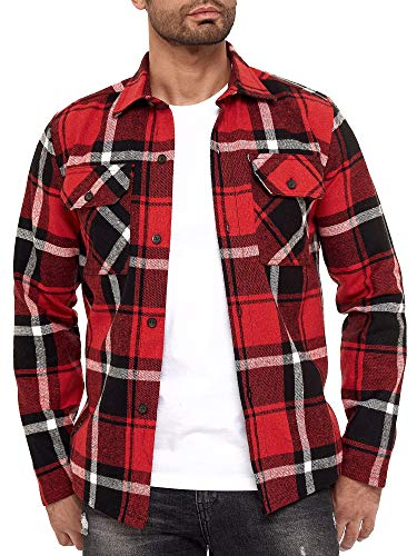 Red Bridge Herren Hemd Kariert Casual Modern Fit Langarm Rot Gr XL