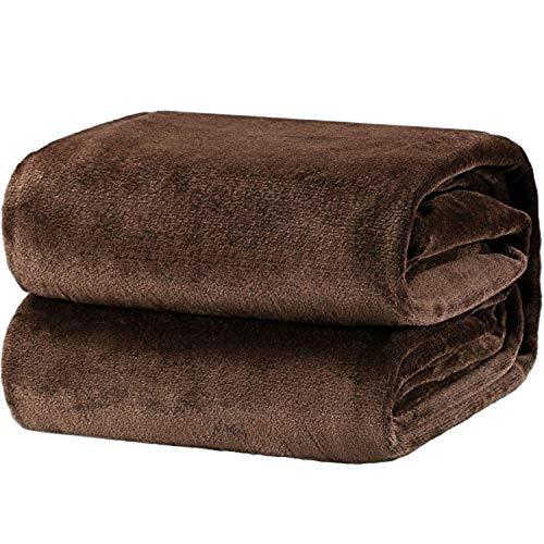 Bedsure Plaid Couverture Polaire Brun Couvre-lit 220x240cm pour 2 Personnes - Plaid Douce et Chaude Jeté de Canapé Flanelle Grande Taille